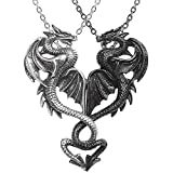 Johnson Smith Co. - ALCHEMY OF ENGLAND Draconic Tryst - Black & Antiqued Silver-Tone Dragons for Couples Or Besties