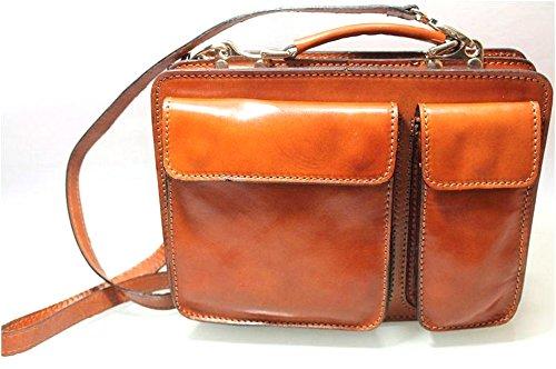 Superflybags Borsa Uomo Piccola Porta Tablet Vera Pelle Made in Italy modello Classic M 28x20x9 cognac