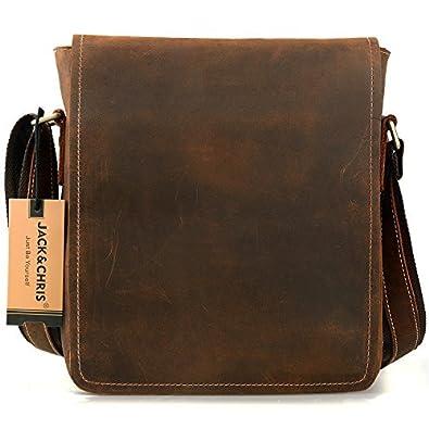 Jack&Chris Mens Handmade Leather Messenger Bag Shoulder Bag, NM1865