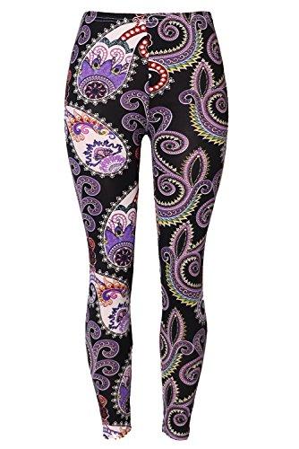 Geometric Print Leggings (Womens Printed Brushed Leggings Autumn Winter Stretchy Pants Octopus Paisley Print)