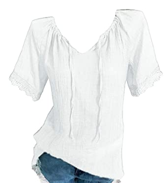 9a78311a0b8 Alion Short Sleeve T Shirts for Women,V Neck Cotton Solid Color Blouse Tops  T-Shirt White 4XL: Amazon.in: Clothing & Accessories