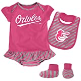 MLB Baltimore Orioles Infant Girls Bib & Booty Set, 12 Months, Poster Pink
