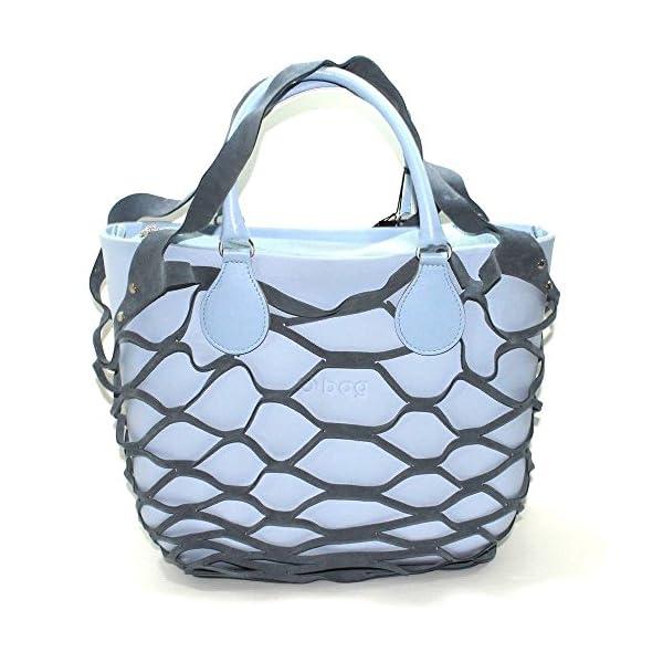 Borsa o bag mini sky way con manico corto azzurro sacca con zip e bordo in rete (K) 2