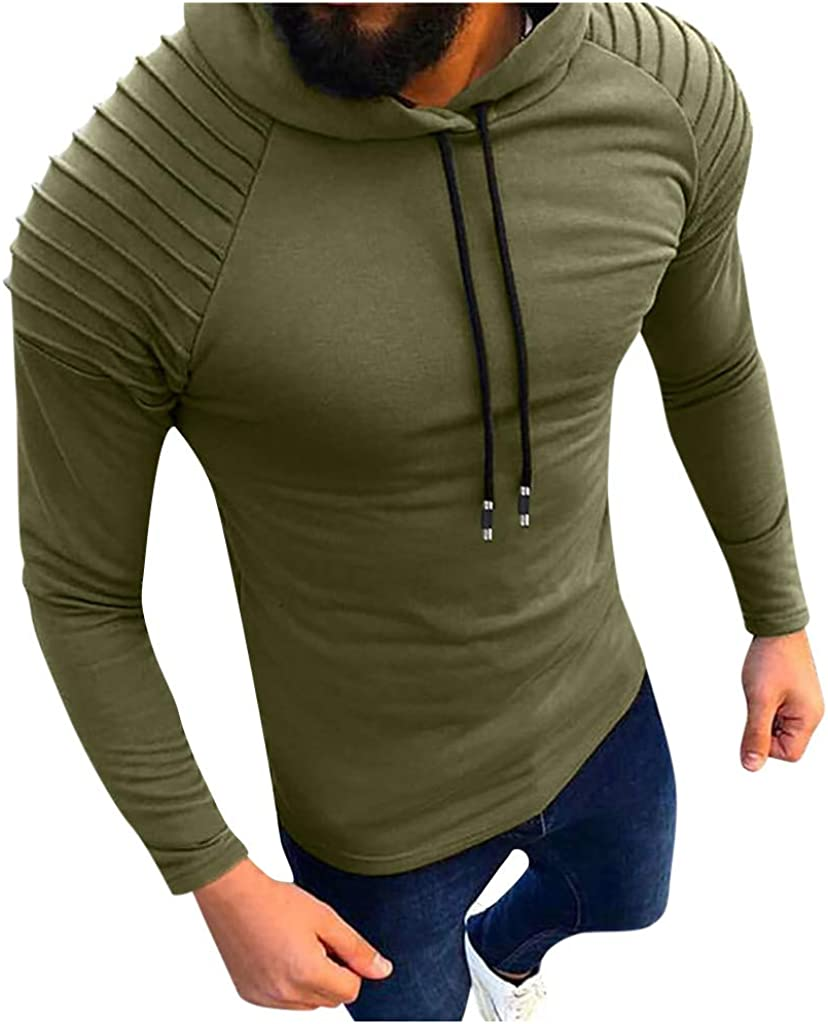 Men Hoodies Sweatshirt Long Sleeve Slim Fit Hipster Pullover Tops with Drawstring
