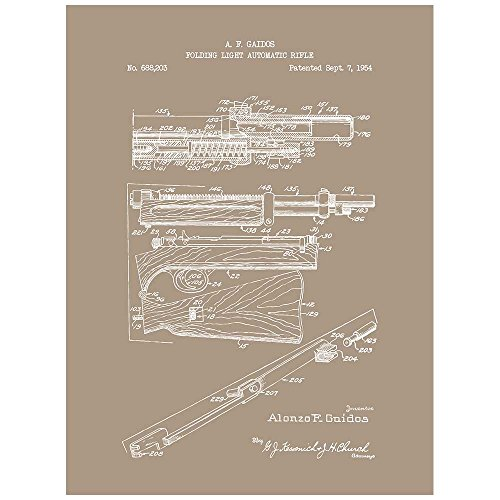 Submachine Folding Gun - Inked and Screened SP_Milt_688,203_KR_11_W Folding Light Automatic Rifle-A. Gaidos-1954 Silk Screen Print, 8.5
