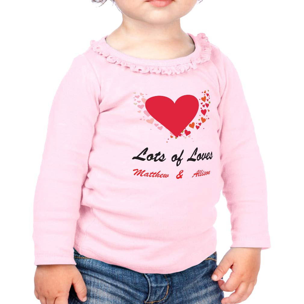 Personalized Custom of Loves Cotton Toddler Long Sleeve Ruffle Shirt Top