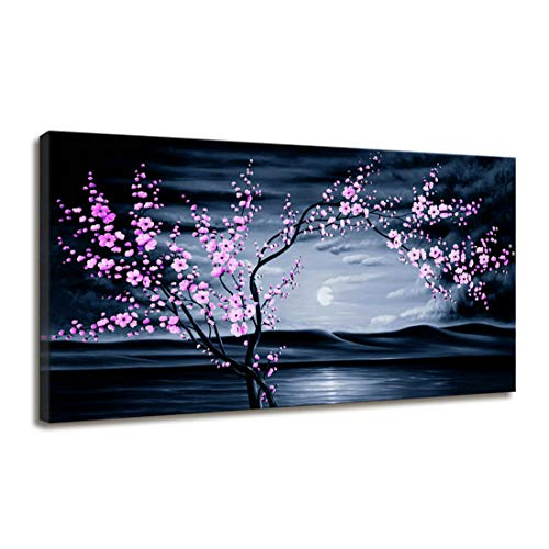 - Canvas Wall Art Contemporary Simple Life Cherry Blossom Bedroom Decor Sunset Dark Teal Beach Pink Floral Sea Landscape Canvas Print Artwork Large Framed Wall Art for Living Room Home Office Decoration