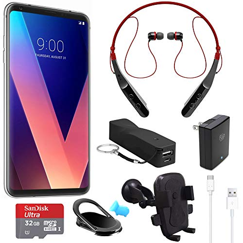 LG V30 US998 64GB Smartphone (Silver) with Wireless Bluetooth Headset and - Lg Smart Tv Bluetooth