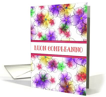 Amazon Italian Happy Birthday Buon Compleanno Candy Flowers Card Blank Inside Office Products