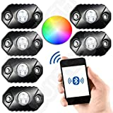 RGB LED Rock Light with Bluetooth RGB Controller - Neon Lights Replacement Multicolor Super Bright CREE PODs - Under Vehicle Cars Interior and Exterior - Waterproof Shockproof (MULTICOLOR)