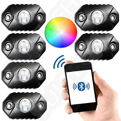 RGB LED Rock Light with Bluetooth RGB Controller - Neon Lights Replacement Multicolor Super Bright CREE PODs - Under Vehicle Cars Interior and Exterior - Waterproof Shockproof (MULTICOLOR) (Bluetooth Light Controller)