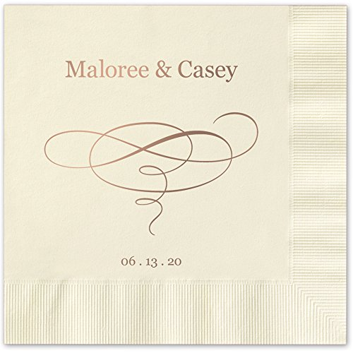 (Elegant Swirl Personalized Luncheon Dinner Napkins - Canopy Street - 100 Custom Printed Ivory Ecru Paper Napkins (4021L))