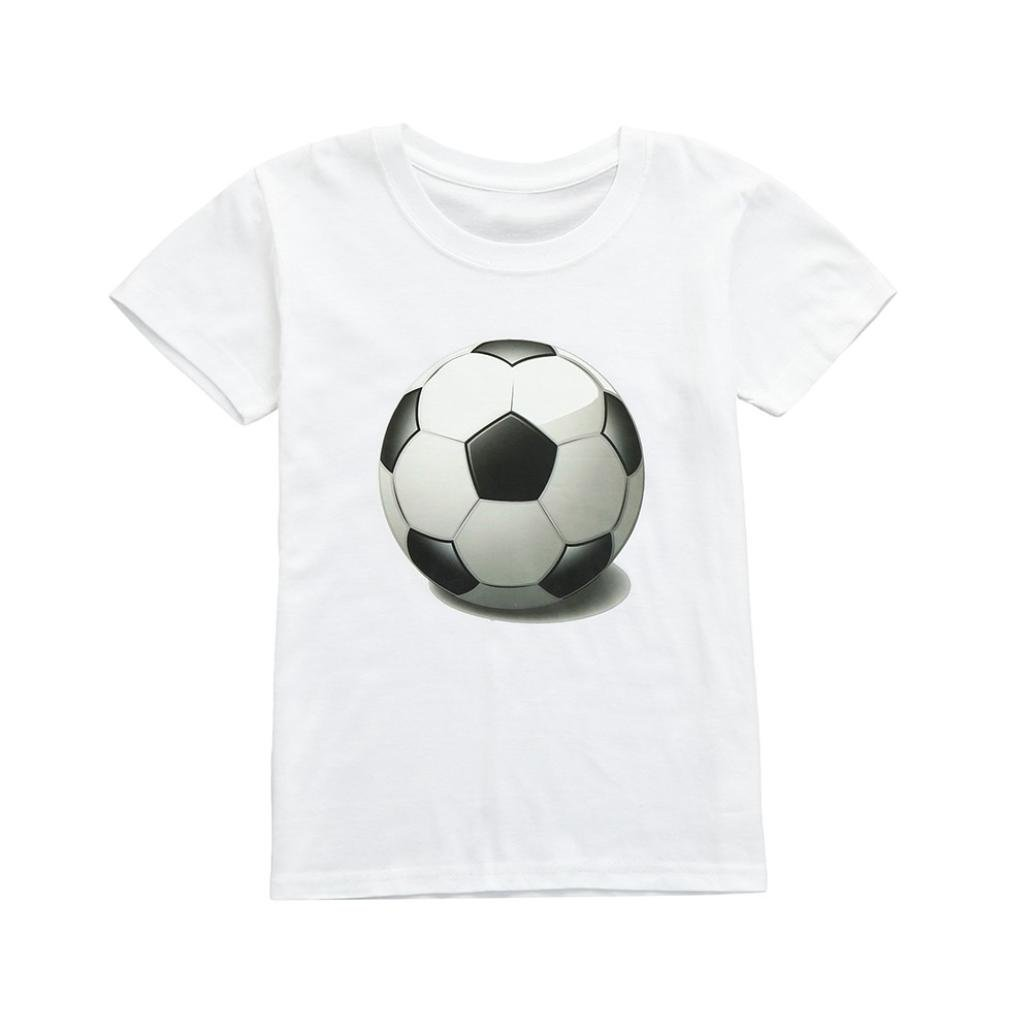 🍓Camiseta Lonshell Copa Mundial de Fútbol Infantil set Imprimir Top corta manga Camiseta linda algodón niñas niños bebés Camiseta de moda cuello redondo🍓: ...