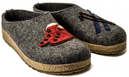 Pantofole HAFLINGER Cortina art. 73103304 antracite in lana cotta (40-42) Grigio 0DsiW