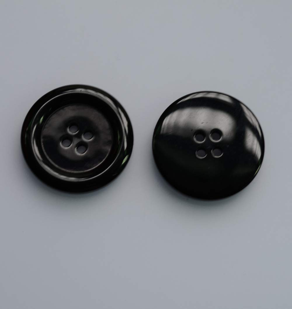 Black Lyracces Wholesale Lots 7pcs Extra Large Big Small-Brimmed Sewing Fasteners Flatback Resin Buttons 50mm 1.97 Inches