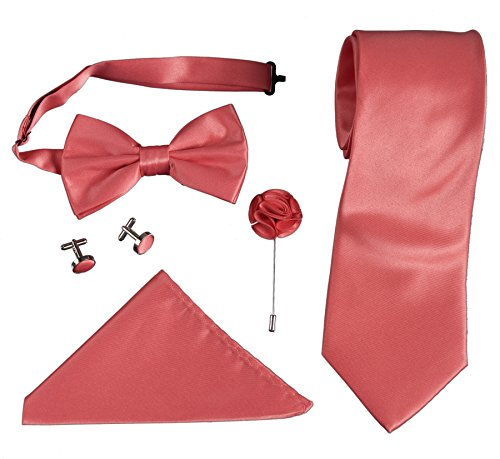 Mens Formal Boxed Tie Sets Includes Cufflinks, Lapel Pin, and Hanky (Coral) (Gift Boxed Set Cufflink)