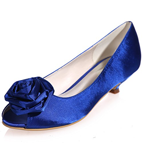 Sarahbridal Peep Toe Dresses Party Satin Low Heels Shoes Bridal Wedding Shoes Slip-On With Flowers For Girls Size SZXF0700-15 Blue UENTAjJsX4