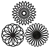ME.FAN 3 Set Silicone Multi-Use Flower Trivet Mat - Premium Quality Insulated Flexible Durable Non Slip Coasters Hot Pads Black
