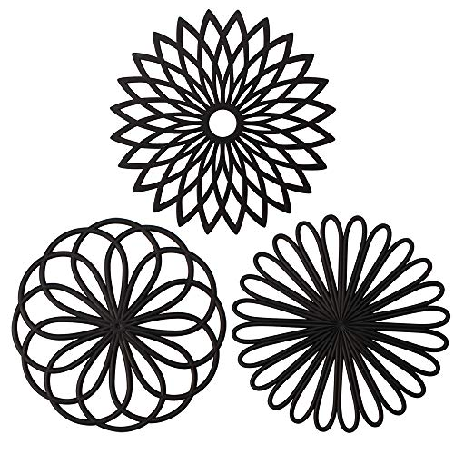 Trivet Black - ME.FAN 3 Set Silicone Flower Trivet Mat - Premium Quality Insulated Flexible Durable Non Slip Coasters Hot Pads Black