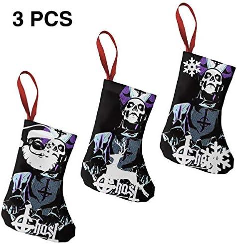 クリスマスの日の靴下 (ソックス3個)クリスマスデコレーションソックス TooWest Rock Band Ghost クリスマス、ハロウィン 家庭用、ショッピングモール用、お祝いの雰囲気を加える 人気を高める、販売、プロモーション、年次式