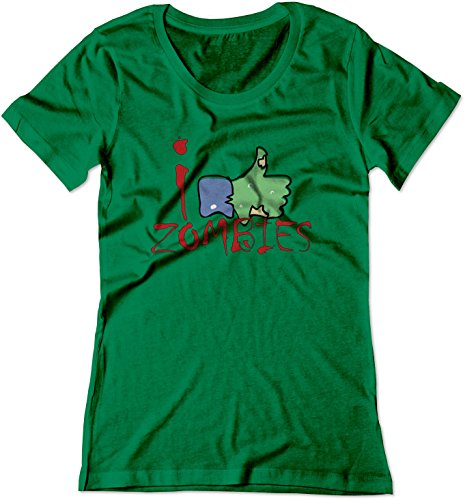 BSW Women's I Like Zombies Thumbs Up Facebook Shirt XS Kelly Green