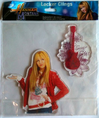 Hannah Montana Wall Decorations - Hannah Montana Disney MILEY CYRUS as Locker & Window Cling Decoration SECRET STAR Guitars (5 1/2 Inches Tall)
