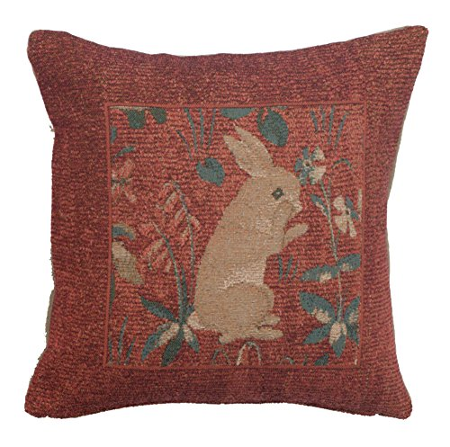 Woven French tapestry, Rabbit Standing in Red. 14 x 14
