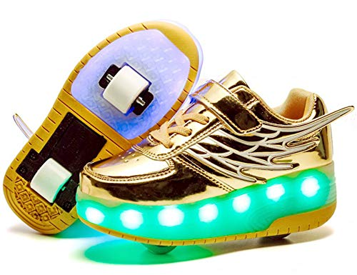 (TR&GA Unisex Kids LED 7Color Changing Lights Flashing Wheels Sneakers Auto-Paragraph Roller Shoes Skates Sports Running Shoes)