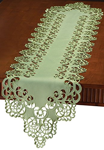 (Collections Etc Floral Scroll Cut-Out Table Linens, Sage Green, Runner)