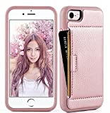 iPhone 8 Wallet Case, iPhone 8/7 Case, ZVE iPhone 7/8 case with Credit Card Holder Case Ultra Protective Hybrid Shockproof Leather Wallet Case for Apple iPhone 7 / iPhone 8 2017 (Rose Gold)