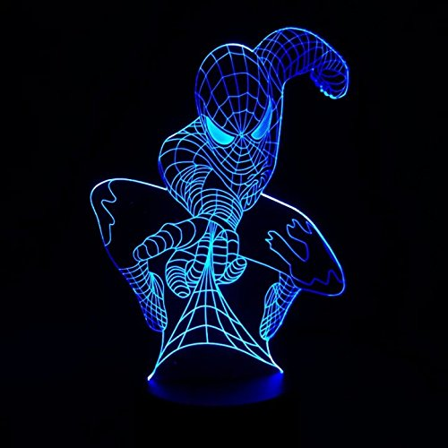 Spider-man+3D+Night+Lamp+ Products : AIBULBMarvel Superhero Spiderman 3D Table Lamp Optical Illusion Bulbing Night Light 7 Colors Changing