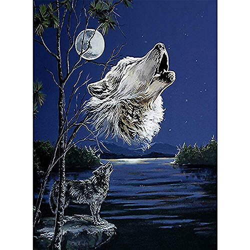 5D DIY Modern Canvas Painting Wall Art The Picture For Home Decoration Print On Canvas Artwork For Wall Décor,Wolf Moon(39X29CM/15.4X11.4inch) ()