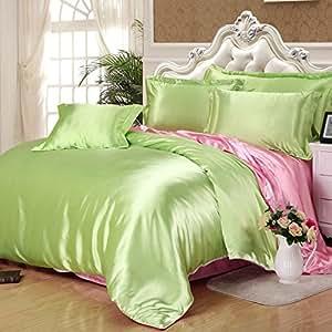 Amazon Com Light Green And Pink Silk Bedding Set Duvet