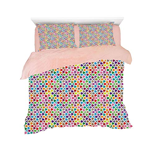 Flannel 4 Piece Cotton Queen Size Bed Sheet Set for bed width 5ft Winter Holiday Pattern Customized bedding for girls and young children,Geometric,Fidget Spinner Shaped Abstract Rainbow Colored Image ()