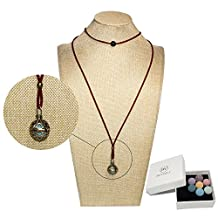 Bivei Lava Stone Aromatherapy Essential Oil Diffuser Choker Necklace Locket Pendant Gift Set W/Adjustable Chain and Multi-Colored Beads