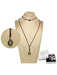 Bivei Lava Stone Aromatherapy Essential Oil Diffuser Choker Necklace Locket Pendant W/Adjustable Chain Multi-Colored Beads