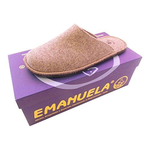 EMANUELA 020 HAUSSCHUH / PANTOFFEL GUMMIERTE FILZSOHLE TWEED CAFFEE - EU 40 - 46