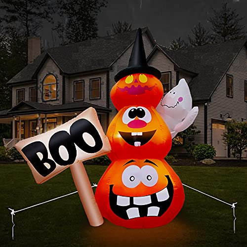 Yostyle 6FT Halloween Inflatables Stacked Pumpkins with Witches Hat Inflatable Hammer Outdoor Halloween Decorations with Build-in LED, Blow up Halloween Decorations for Yard, Garden, and Lawn