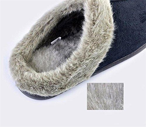 W&XY Zapatillas de invierno hombre Home Floor suave de algodón acolchado terciopelo antideslizante Zapatillas de dormir con suela de goma, , 41 , Tibetan youth 40