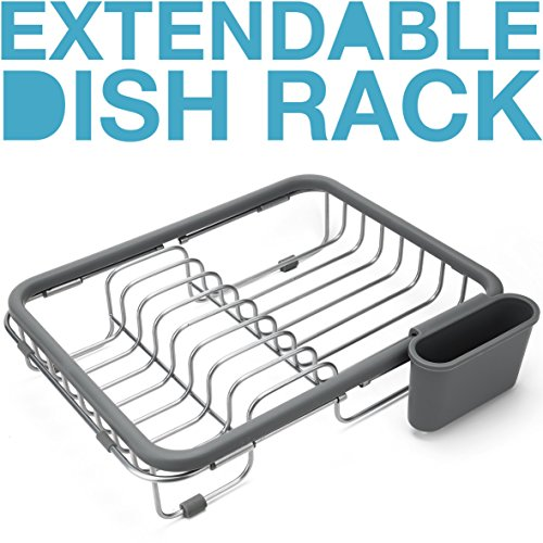 Expandable Dish Draining Rack - Over the Sink Dish Drainer, Dish Rack In Sink Or On Counter With Utensil Holder -