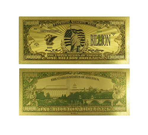 Price comparison product image Gold Billion Dollar Novelty Bill with Protective Sleeve by Lane Co