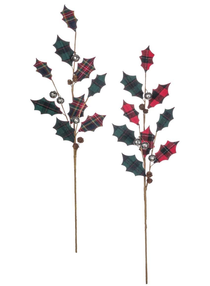 Sullivans 人工緑色ピックスティック 格子じまの葉とベル 装飾アクセント 各22.86cm x 71.12cm 赤と緑の2種類の6個セット (ST1574) B07G3Z9GM9