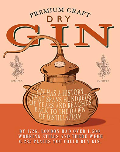 KPSheng Premium Craft Dry Gin Retro Vintage Bar Signs Tin Sign Vintage,12x16 ()