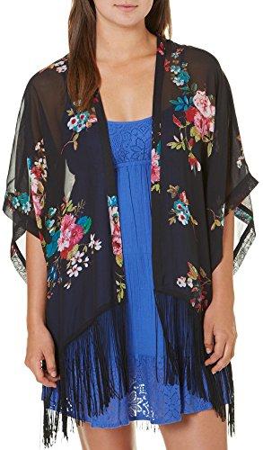 Eyeshadow Juniors Floral Print Fringe Kimono Small/Medium Black/ multi