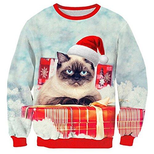 Uideazone Boys Print Angry Cat Long Sleeve Shirt Funny Christmas Sweater Sweatshirt