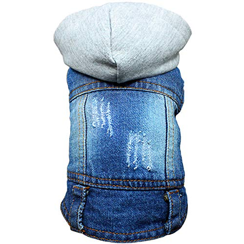 (DC.PET Clothes Dog Jean Jacket Dog Hoodie Dog Denim Blue Vest Coat Shirt Dog Clothes for Small Medium Dogs (XXL, Grey hat))