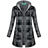 WOCACHI Final Clear Out Womens Plaid Outerwear Long Sleeve Hooded Open Front Coat with Pockets Black Friday Cyber Monday Sweatshirt Autumn Bottoming Shirts Checkered Lattice (Gray, Medium)