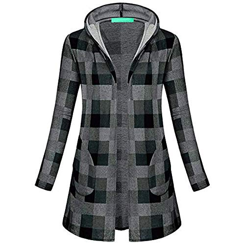 Clearance Sale ! Women's Plaid Hooded Coat Autumn Winter Tops Knitting Long Sleeve Parka Cardigans Outwear (Gray, S) from Kshion_Women blouse