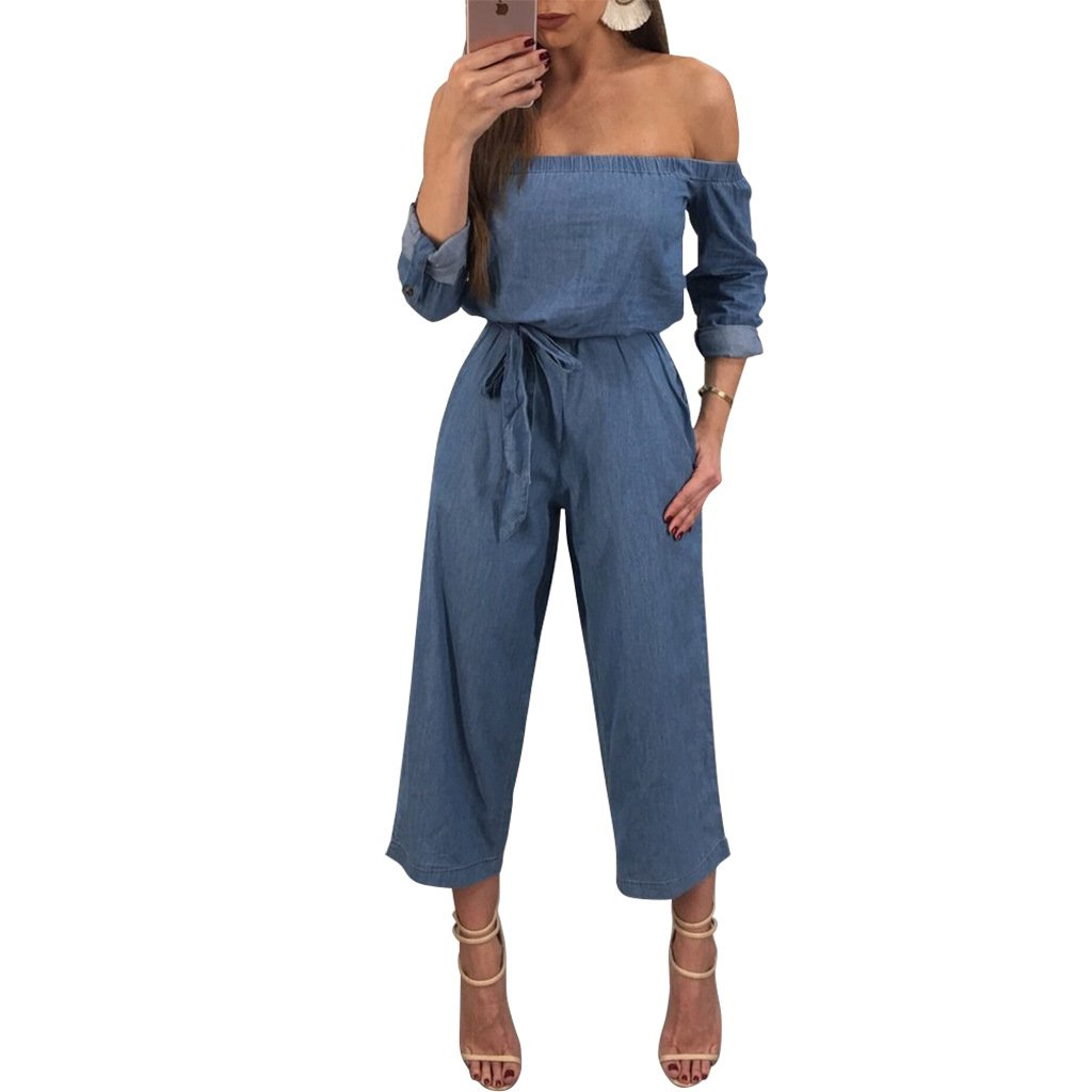 00c9506131 Amazon.com  JireH Women s Off Shoulder Ruffle Denim Jumpsuit Drawstring Long  Romper  Clothing