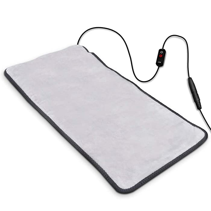 "Heating Pad, Far-lnfrared Heating Pads with Auto Shut Off, Ultra Soft Heat Pad with 3 Temperature Settings for Back Shoulder Pain Relief, Fast Heating with Graphene Heating Element 12""x 24""(Grey)"